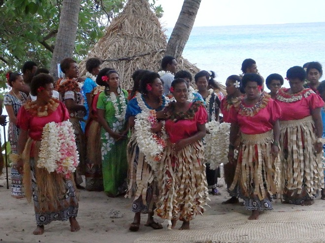 Villagers giving a dance workshop.
